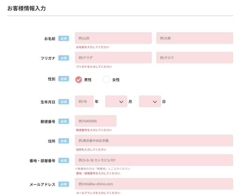 カシモWiMAX申し込み画面(お客様情報入力)