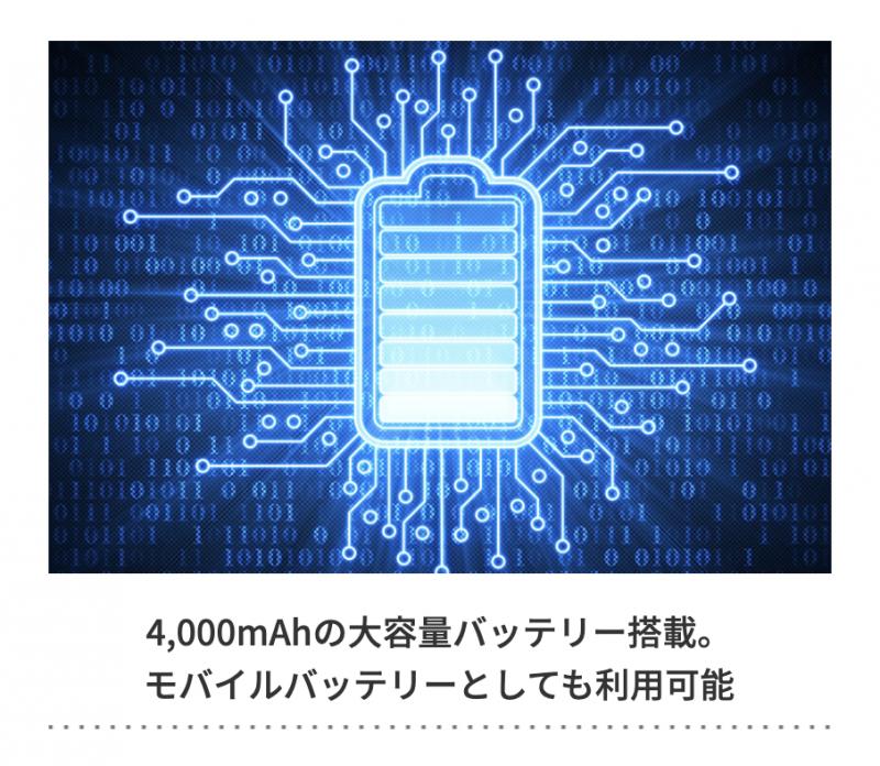 大容量のバッテリー搭載でスマホへの供給も可能