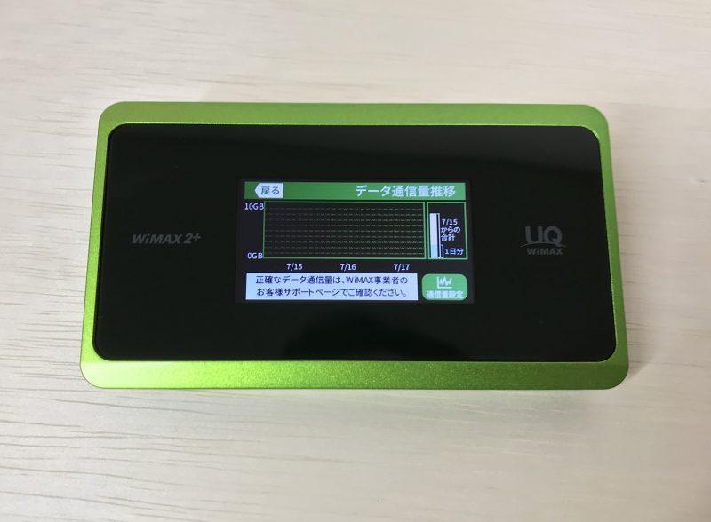 WiMAXルーターの通信量確認画面